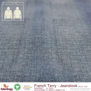 Blauwe jeanslook french terry Fabrilogy - denim Biologische French terry