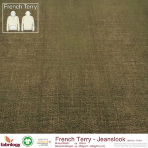 Groene jeanslook french terry Fabrilogy - moosgrun Biologische French terry