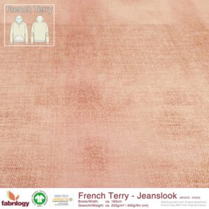 Roze jeanslook french terry Fabrilogy - puder rosa Biologische French terry